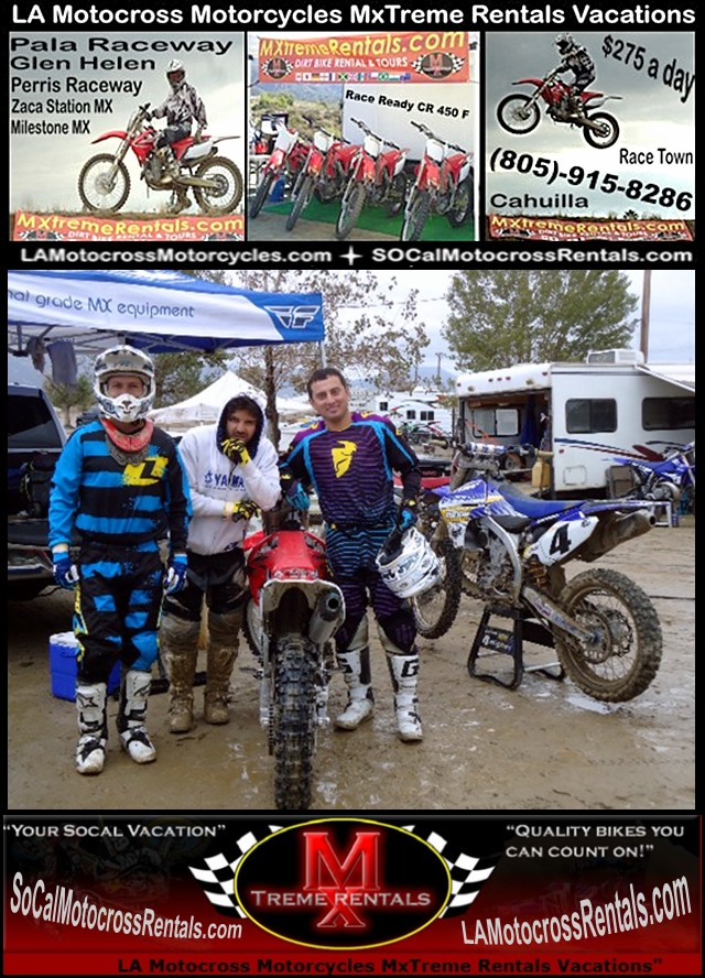 LA Motorcross Motorcycles - 805-915-8286 -http://lamotocrossrentals.com/murrieta-la-motorcross-motorcycles-48.jpg - MxTreme Motocross Rental Vacations - Simi Valley, CA 93063 - No extra fee for transponders or time sheets - Murrieta - Yucaipa - La